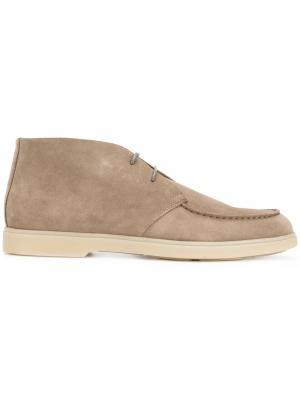 Ботинки на шнуровке Santoni. Цвет: телесный