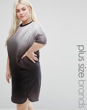 Elvi Платье размера плюс с эффектом деграде. Цвет: черный
