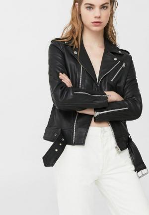 Куртка кожаная Mango. Цвет: черный