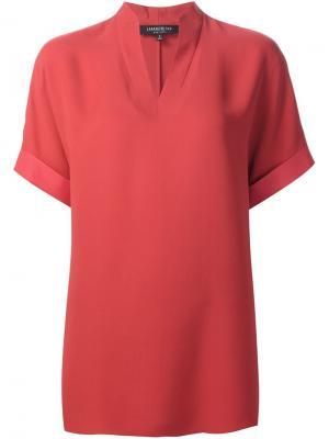Блузка с V-образным вырезом Lafayette 148. Цвет: красный