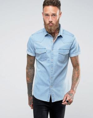 ASOS Выбеленная приталенная джинсовая рубашка в стиле вестерн. Цвет: синий