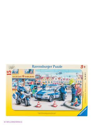 Паззл Полиция 15 шт Ravensburger. Цвет: желтый, темно-синий