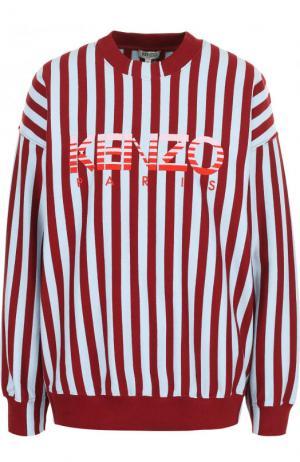 Хлопковый свитшот в полоску с логотипом бренда Kenzo. Цвет: красный