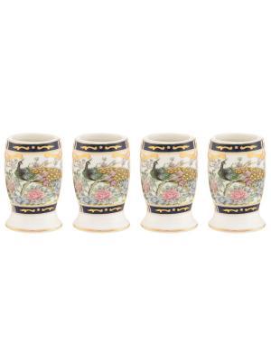 Набор из 4-х вазочек под зубочистки Павлин на золоте Elan Gallery. Цвет: черный, белый, золотистый