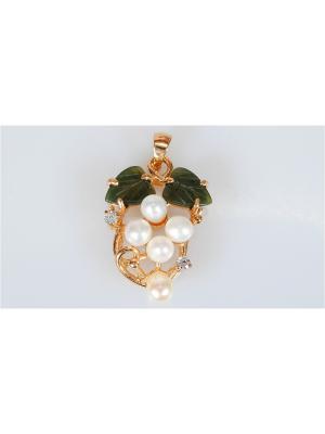 Кулон Жемчуг-нефрит Lotus Jewelry. Цвет: золотистый, белый, зеленый