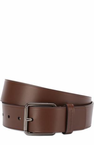 Кожаный ремень с металлической пряжкой Ermenegildo Zegna. Цвет: коричневый