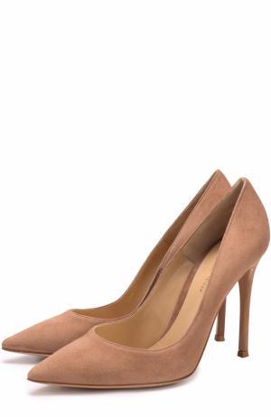 Замшевые туфли Gianvito 105 на шпильке Rossi. Цвет: бежевый