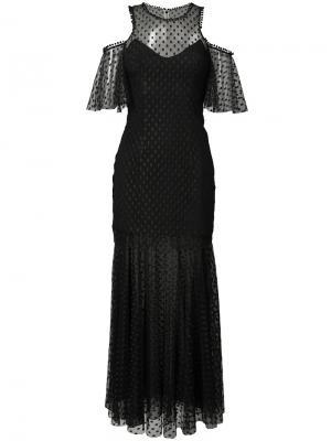 Прозрачное платье с открытыми плечами Monique Lhuillier. Цвет: чёрный
