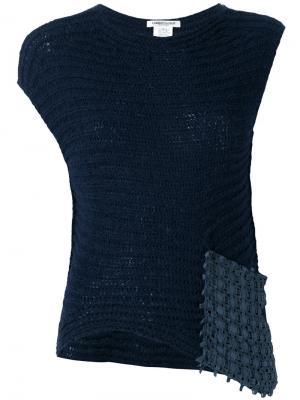 Топ с плетеной нашивкой Lamberto Losani. Цвет: синий