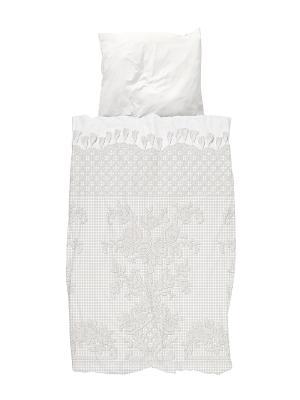 Комплект постельного белья Венецианское кружево 150х200см SNURK. Цвет: белый, серый, светло-серый