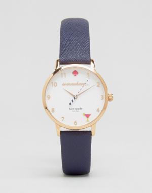 Kate Spade Часы с темно-синим кожаным ремешком Metro KSW1040. Цвет: синий