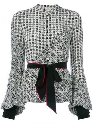 Блузка с принтом и поясом Talitha. Цвет: чёрный