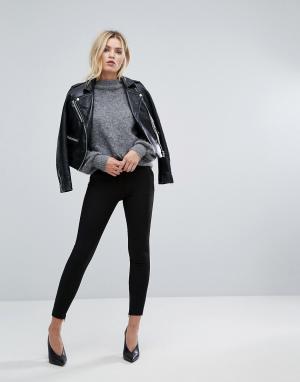Selected Укороченные брюки с молниями. Цвет: черный