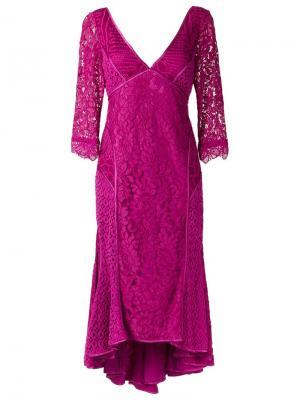 Кружевное платье Martha Medeiros. Цвет: розовый и фиолетовый