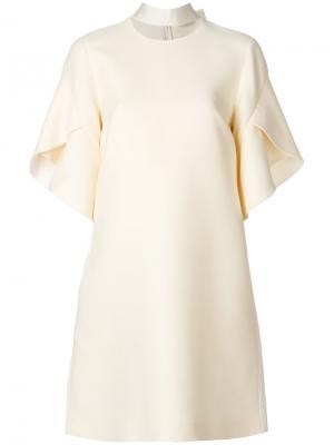 Расклешенное платье с вырезной деталью Fendi. Цвет: телесный