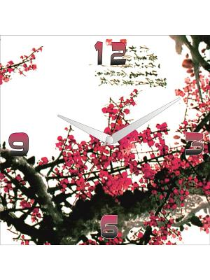 Картина стеновая с часовым механизмом 400*400мм ДСТ. Цвет: красный, белый