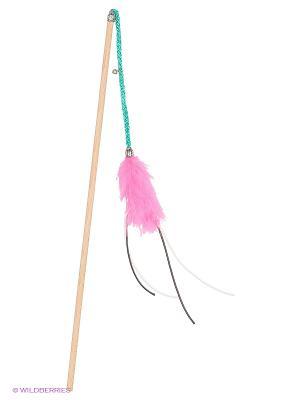 Игрушка для кошки Бамбук Марабу-длинные шнурки 150см Zoobaloo. Цвет: бледно-розовый