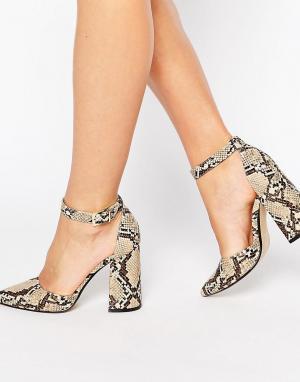 Office Кожаные сандалии на каблуке со змеиным принтом Sharp. Цвет: мульти