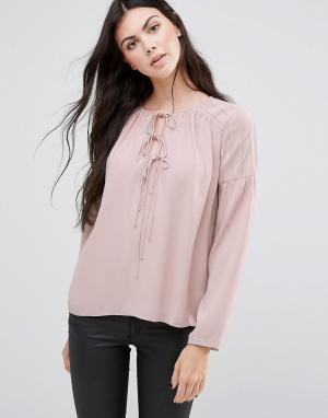 Greylin Блузка с завязками у горловины Haydie. Цвет: розовый