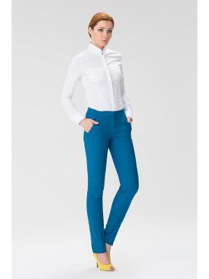 Женские брюки с передними карманами на молнии INDIGIRA. Цвет: бирюзовый