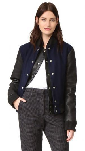 Куртка с двухслойной планкой в студенческом стиле Oak. Цвет: голубой