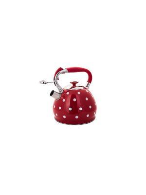 Чайник со свистком с 3-х слойным капсульным дном (газ/электро/индукция), 3,3 л HOFFMANN. Цвет: красный