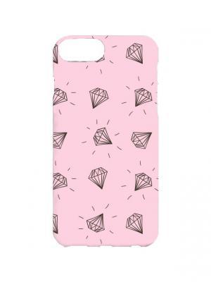 Чехол для iPhone 7Plus Камушки на розовом Арт. 7Plus-060 Chocopony. Цвет: розовый, серый