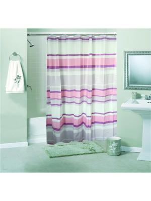 Штора для ванной комнаты 180х180см, Полоски, PEVA NIKLEN. Цвет: розовый, серый