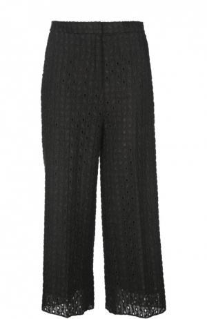 Укороченные расклешенные брюки с вышивкой Rochas. Цвет: черный