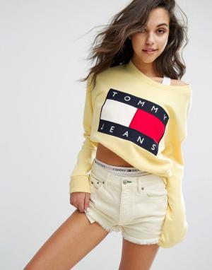 Tommy Jeans Свитшот в стиле 90-х. Цвет: желтый