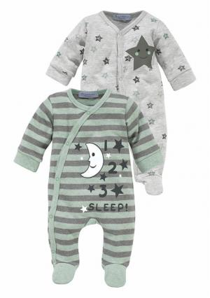 Пижама, 2 штуки KLITZEKLEIN. Цвет: серый+мятный