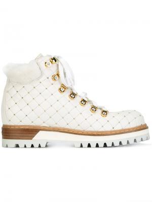 Ботинки с заклепками Le Silla. Цвет: белый