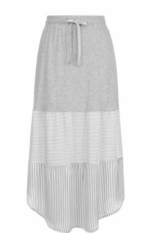Хлопковая юбка-миди с эластичным поясом Deha. Цвет: серый