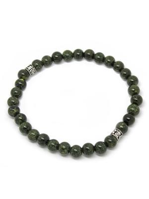 Браслет из змеевика с серебряными вставками KARMONIA. Цвет: зеленый, серебристый