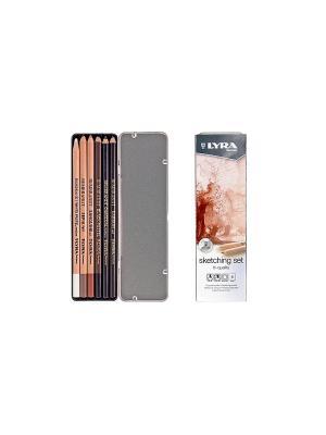 LYRA SKETCHING SET Карандаши художественные 6шт в метал коробке. Цвет: коричневый, белый, черный