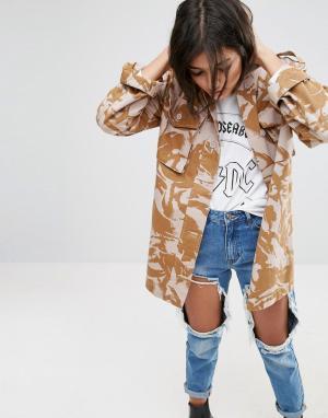 ASOS Куртка с камуфляжным принтом. Цвет: светло-бежевый