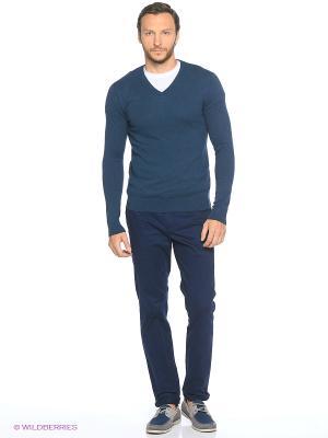 Пуловер Oodji. Цвет: темно-синий, синий