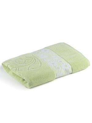 Полотенце для ванной 70х140 см Flora green VERRAN. Цвет: зеленый