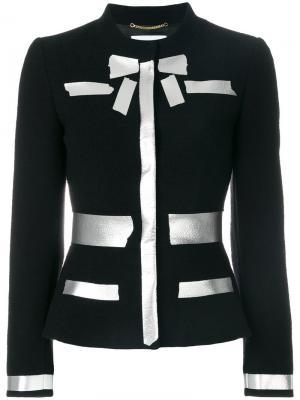 Пиджак с серебристым принтом Moschino. Цвет: чёрный