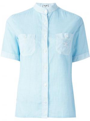 Рубашка в клетку гингем Céline Vintage. Цвет: синий