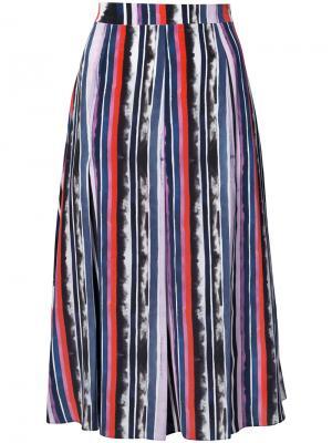 Плиссированная юбка со вставками Prabal Gurung. Цвет: розовый и фиолетовый