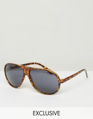 Reclaimed Vintage Солнцезащитные очки-авиаторы. Цвет: коричневый