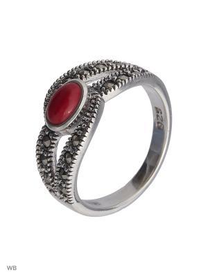 Кольцо МАРКАЗИТ. Цвет: серебристый, красный