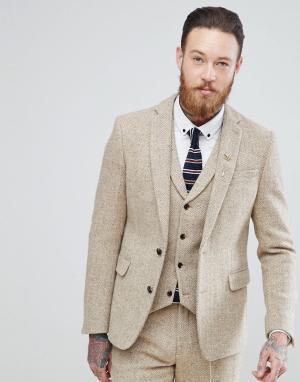 ASOS Серо-коричневый пиджак узкого кроя из 100% шерстяного харрис-твида с у. Цвет: серый