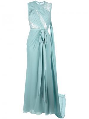 Длинное платье с кружевной отделкой Elie Saab. Цвет: синий