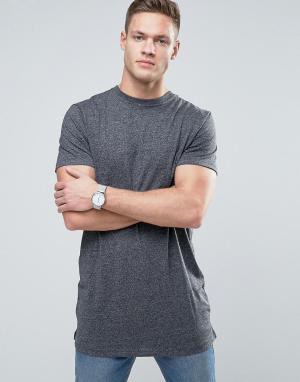New Look Серая меланжевая длинная футболка. Цвет: серый