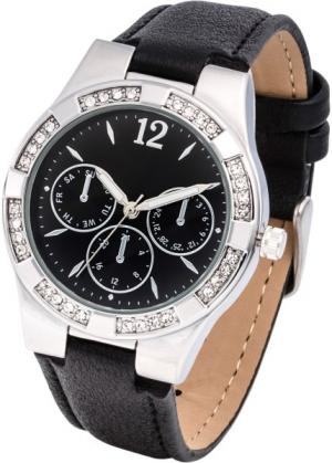 Часы со стразами в области корпуса (черный/серебристый) bonprix. Цвет: черный/серебристый