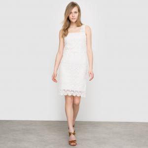 Платье из тонкого кружева 100% хлопка La Redoute Collections. Цвет: темно-синий,экрю