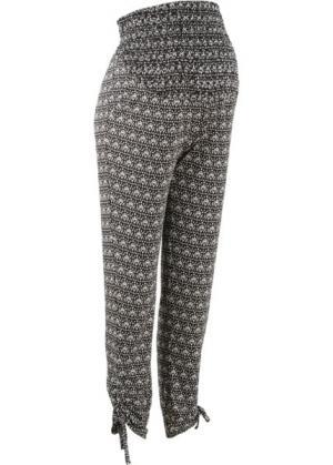 Мода для беременных: брюки-стретч (черный/кремовый с рисунком) bonprix. Цвет: черный/кремовый с рисунком