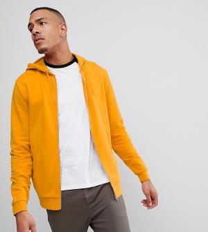 ASOS Худи желтого цвета с молнией DESIGN Tall. Цвет: желтый